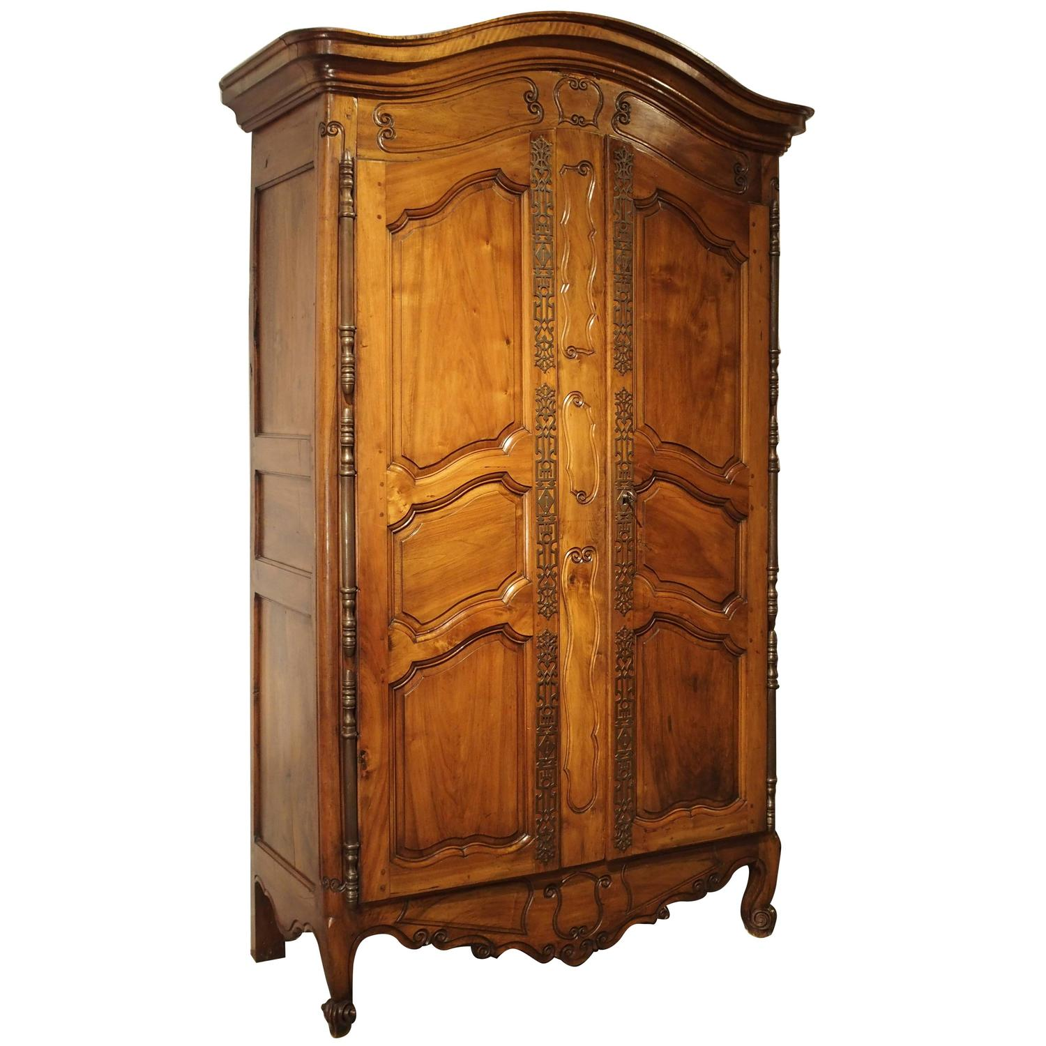 Antique Walnut Wood Armoire From Fourques France Circa 1820 For Sale . Full resolution  img, nominally Width 1500 Height 1500 pixels, img with #C07C0B.