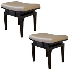 Pair of Modernist Asiatic Benches or Poufs, circa 1950s