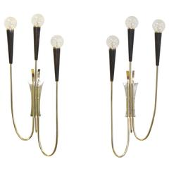 Pair of Brass & Gunmetal Tri-Cone Candelabra Sconces