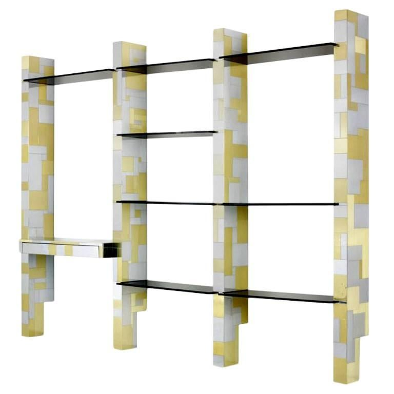 Cityscape wall unit with display shelf Paul Evans
