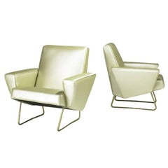 Pair of French Geometrical Club Chairs Pierre Guariche