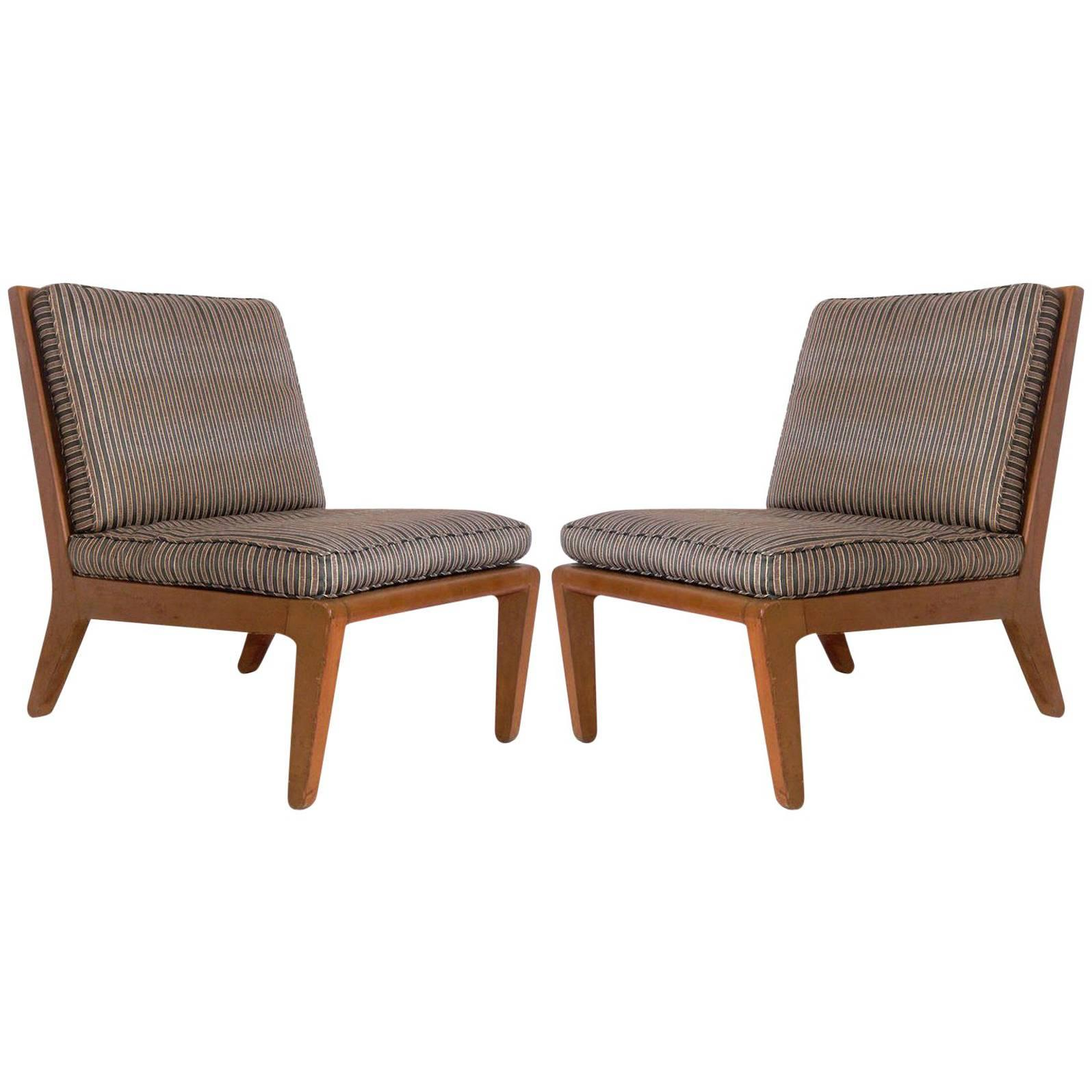 Pair of Edward Wormley Slipper Chairs