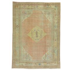 Antique Weathered Oushak Rug