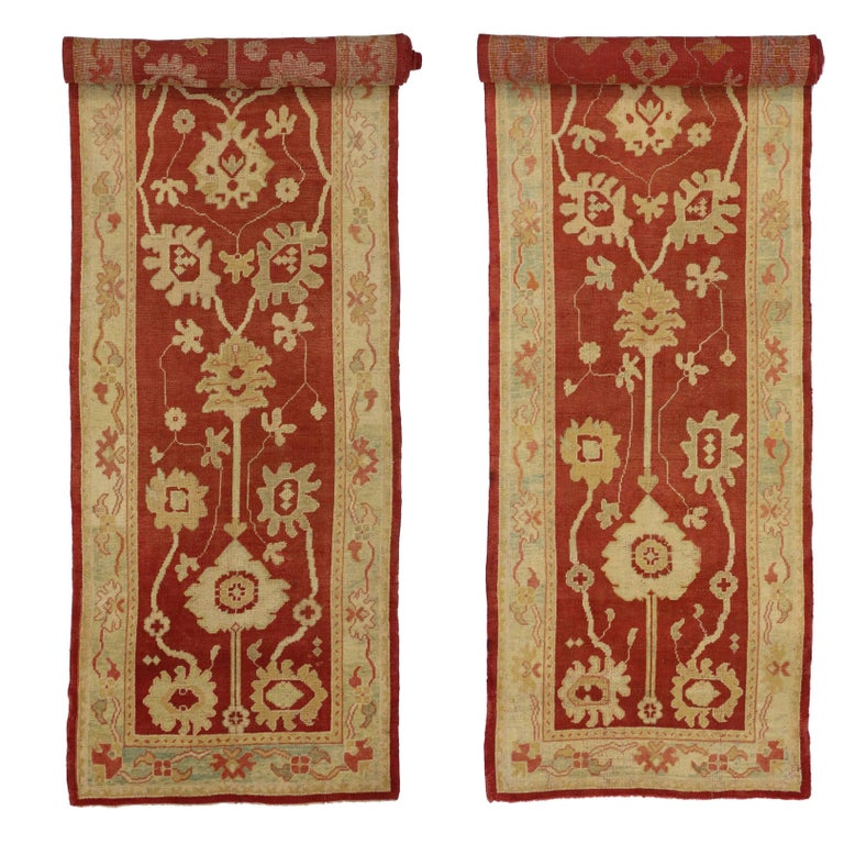 Pair of Antique Turkish Oushak Runners, Extra-Long Hallway Runners For Sale