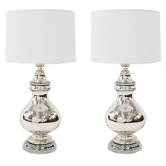 Large Sculptural Mercury Glass Table Lamps