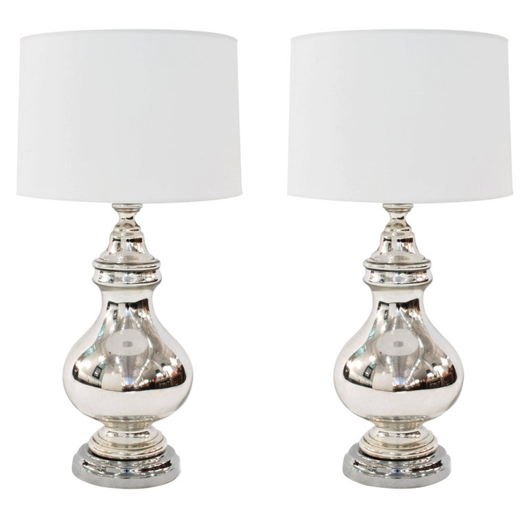 Large Sculptural Mercury Glass Table Lamps For Sale