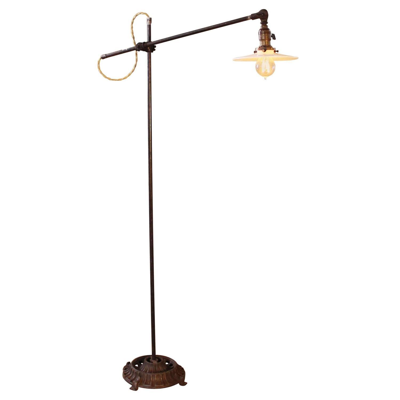vintage floor task lamp light industrial milk glass metal iron adjustable