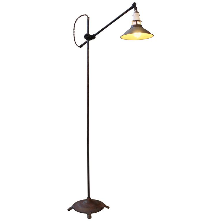Floor Lamp, Light Vintage Shop Iron Steel Adjustable Reading Task with Claw Foot For Sale