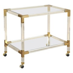 Mid-Century French Rolling Bar Cart in Lucite Acrylic and Brass