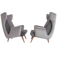 Pair of Mid-Century Modern Grey Velvet Armchairs