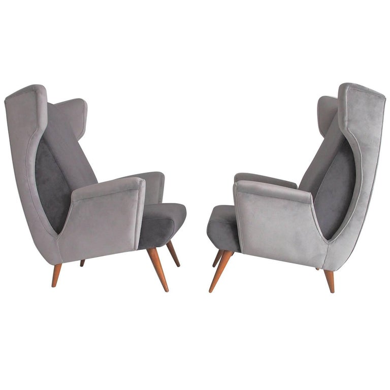 Pair of Mid-Century Modern Italian Armchairs in Grey Velvet