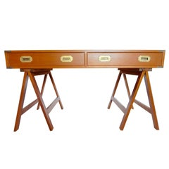 Mid-Century Saw Horse Campaign Desk Teak and Brass