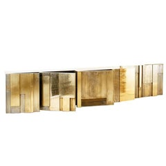 MUR Layered Patinated and Polished Brass Console Sideboard