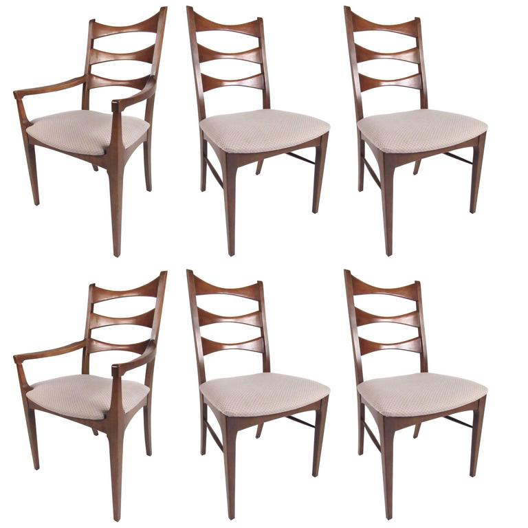 Set of Mid-Century American Walnut Dining Chairs