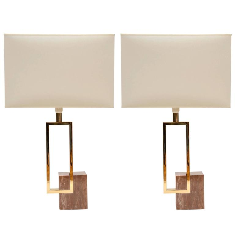 Elegant Pair of Marble and Brass Table Lamps