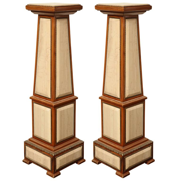 Pair of 1920s Style Columns in Oak with Marble and Bronze For Sale