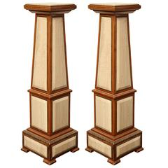 Pair of 1920s Style Columns in Oak with Marble and Bronze