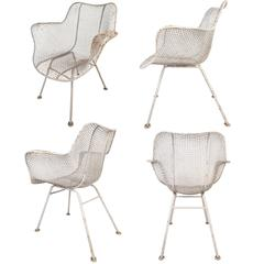 Set of Four Mid-Century Modern Sculptura Patio Chairs by Russell Woodard