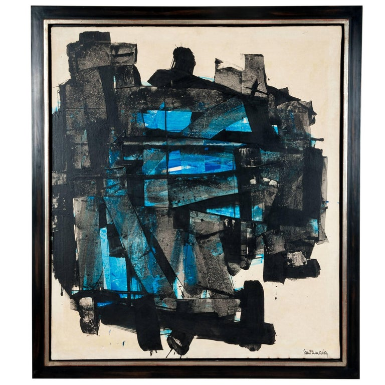 Impressive Abstract Painting Turquois-Black Signed by Ricardo Santamaria, 1970 For Sale