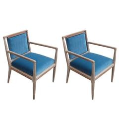 Modern Pair of Gibbings Style Blue Velvet and Bleached Wood Modern Lounge Chairs