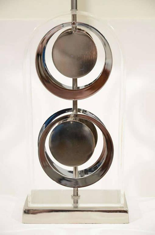 Modern Pair of Chrome and Acrylic Lamps by Laurel For Sale