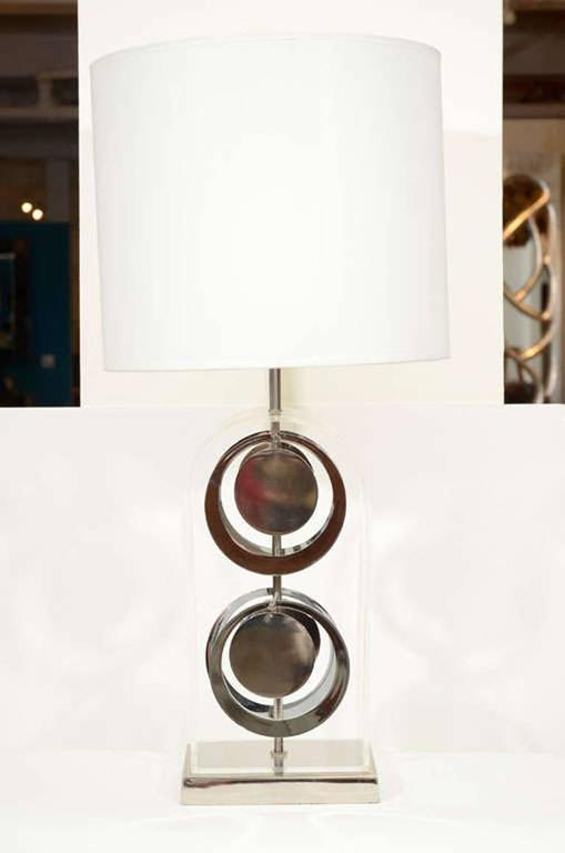 Pair of Chrome and Acrylic Lamps by Laurel For Sale 3
