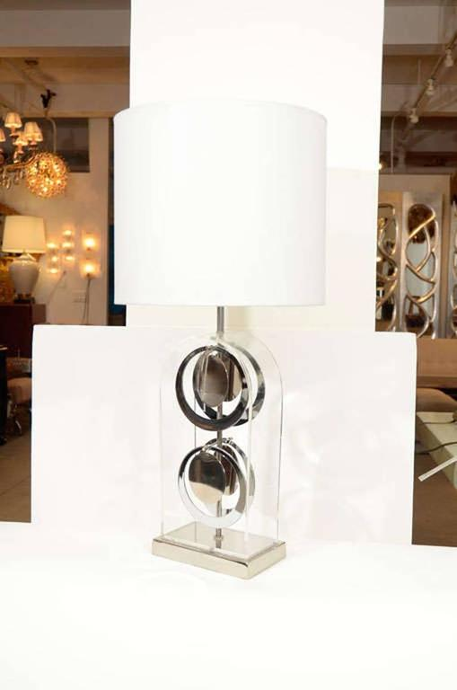 American Pair of Chrome and Acrylic Lamps by Laurel For Sale