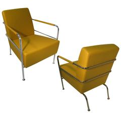 Fabulous Pair of Mid-Century Modern Leather with Chrome Club Lounge Chairs