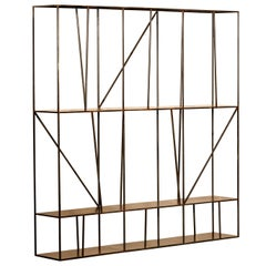 Staiths Patinated Steel Sculptural Minimalist Shelving Unit by Novocastrian