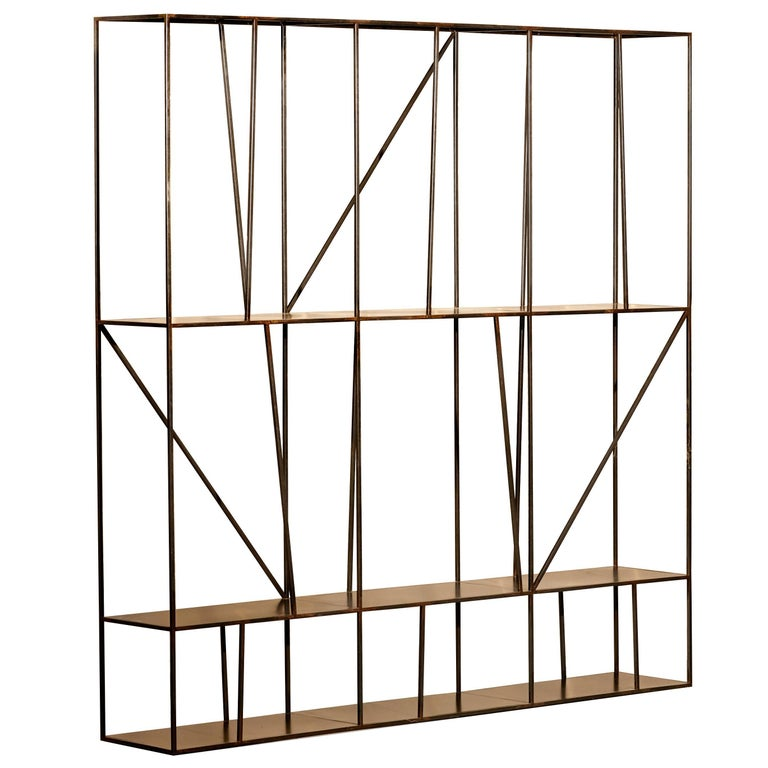 Staiths Patinated Steel Sculptural Minimalist Shelving Unit by Novocastrian For Sale