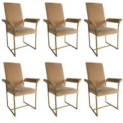 Set of Six Brass Frame Dining Chairs by Milo Baughman