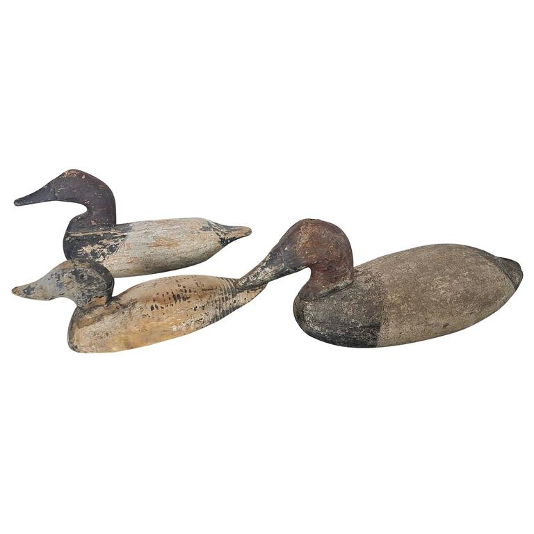 Antique Wooden Duck Decoys With Distressed Paint At 1stdibs
