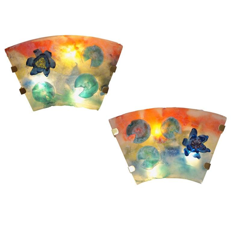 1950s Cenedese Italian Pair of Orange Blue Green Scavo Murano Glass Sconces For Sale