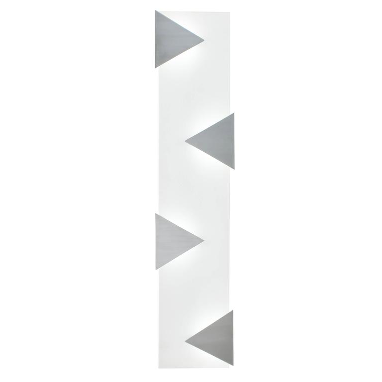 Mid-Century Modern Style Wall Art Sconce Light White Glass with Triangles