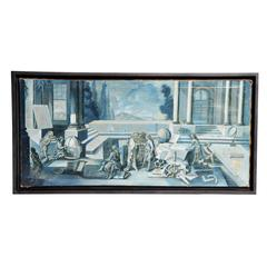 """Oil Painting on Canvas, """"Meeting of the Scientists"""""""