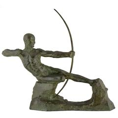 French Art Deco Bronze Sculpture of Male Nude Archer by Victor Demanet, 1930