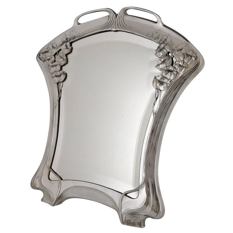 Silvered art nouveau mirror by orivit beveled glass for Miroir art nouveau