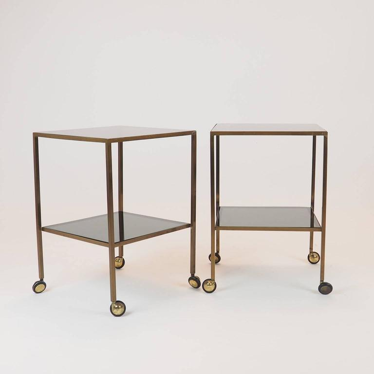 Nice Pair Of Brass Side Tables, In The Luigi Caccia Dominioni Style , With 1