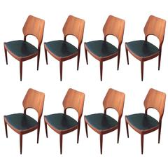Set of Eight Modern Danish Chairs with Black Leather Seats
