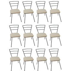 Set of 12 Modern Handmade Iron Ladder Back Dining Chairs with Canvas Seats
