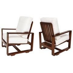 Sornay Style Deco Rosewood Lounge Chairs, France 1930-1940 Mid-Century Modernist