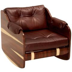 Rosewood and Leather Rocking Chair