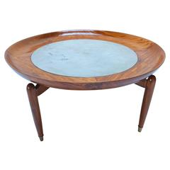 1960s, Scapinelli, Brazilian Caviuna and Marble Round Coffee Table