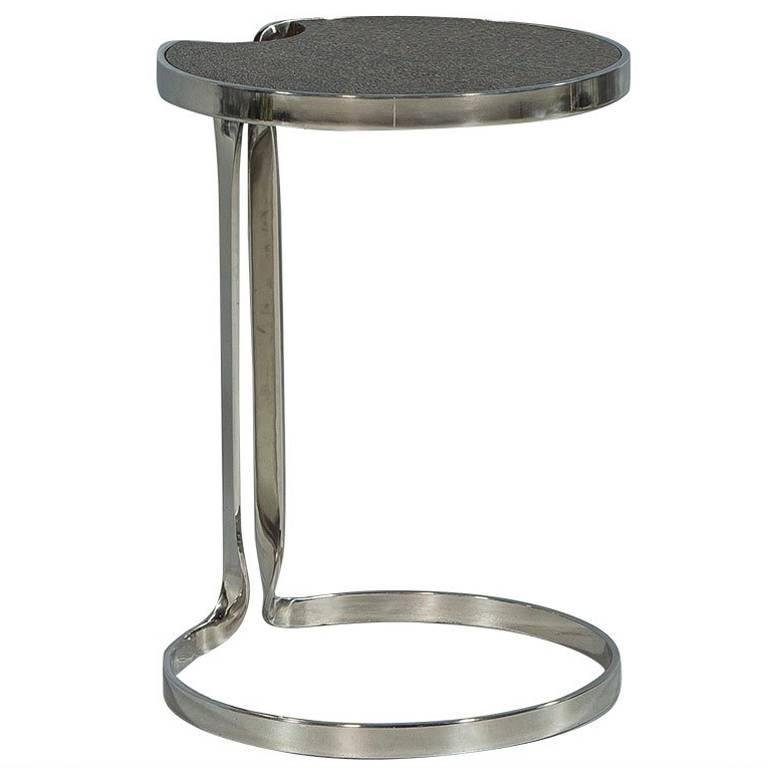 Stainless Steel and Cerused Oak Lilly Pad End Table