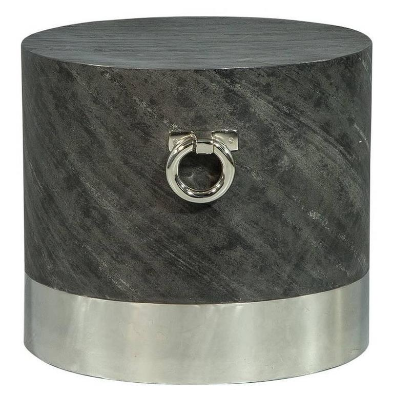 Grey Stone and Stainless Steel End Table
