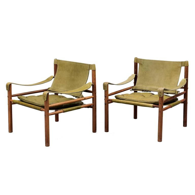 Pair of Arne Norell 'Sirocco' Safari Chairs, Aneby Mobler, Sweden, 1960s 1