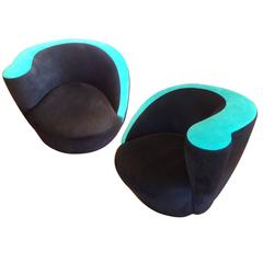 "Pair of Vladimir Kagan For Directional ""Nautilus"" Swivel Chairs"