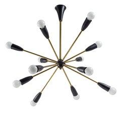 French Twelve-Arm Brass Sputnik Chandelier, 1950s