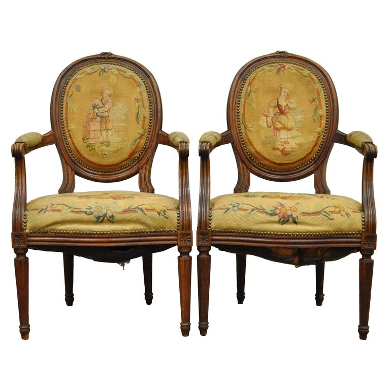 Pair of 19th Century French Louis XVI Style Walnut Armchairs 1