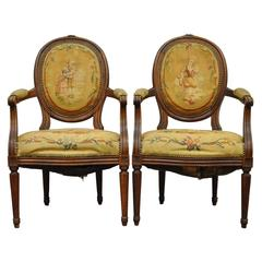Pair of 19th Century French Louis XVI Style Walnut Armchairs
